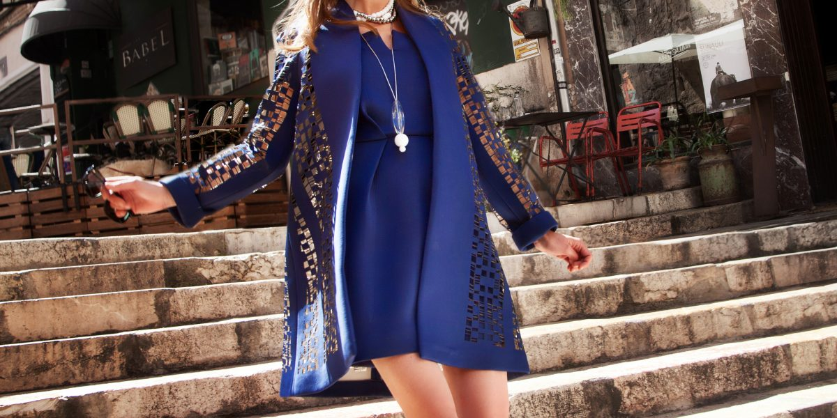 Dress & Coat shop-luxury.com, Necklaces Angel Schlesser, Sunglasses Rialto Living, Pearl earrings Helen Cummins