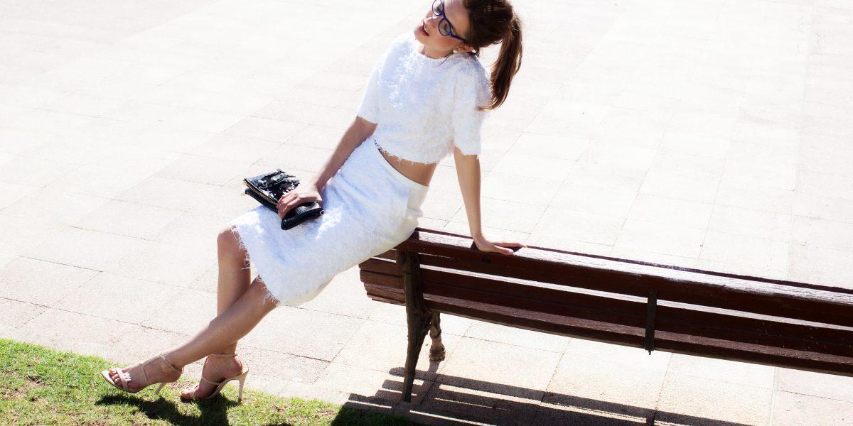 Top & Skirt Angel Schlesser, Bag Pinko, Glasses Rialto Living