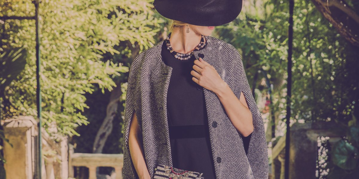 Dress, Cape & Hat from Rialto Living, Necklace & Earrings: from Isabel Guarch