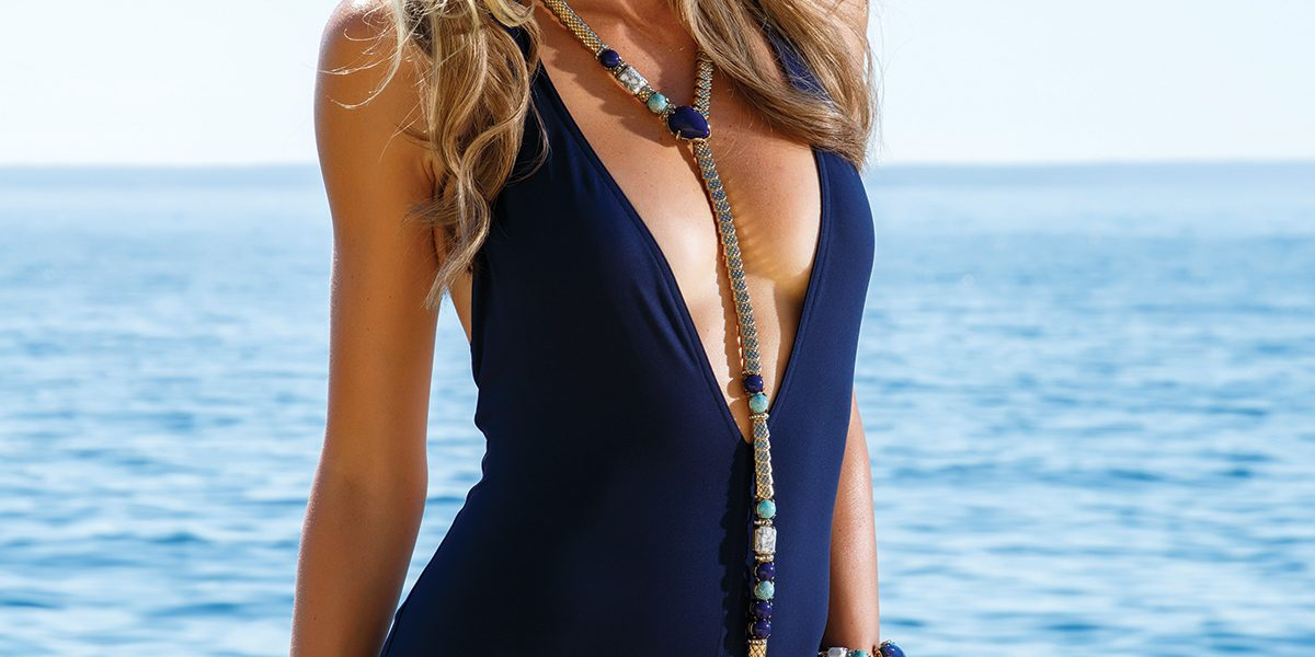 Eres Swimsuit from Exclusive Portals · Earrings from Nicolás Joyeros · Roberto Cavalli Necklace & Bracelet from Kidama Boutique